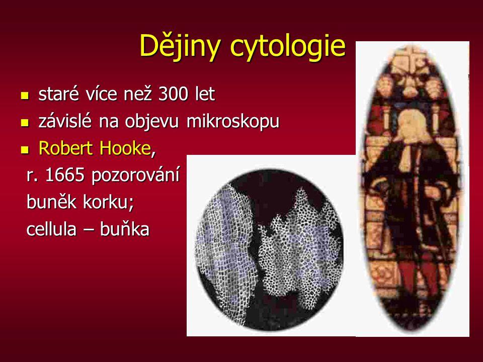 Dějiny cytologie staré více než 300 let závislé na objevu mikroskopu