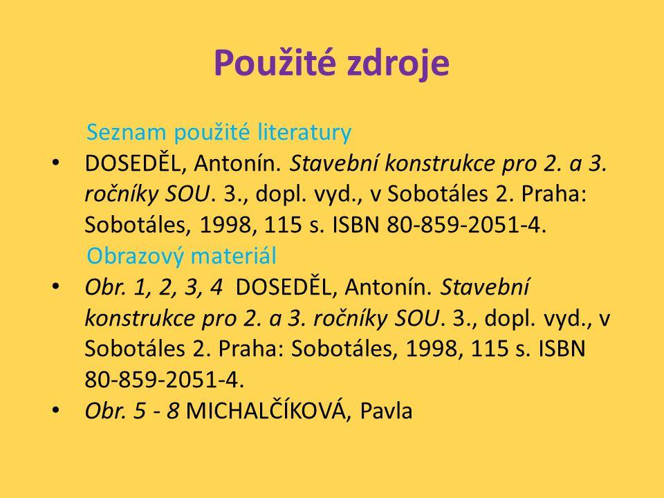 Použité zdroje Seznam použité literatury