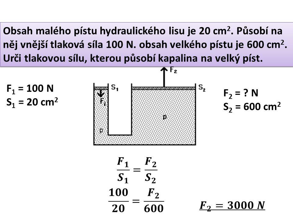Obsah malého pístu hydraulického lisu je 20 cm2