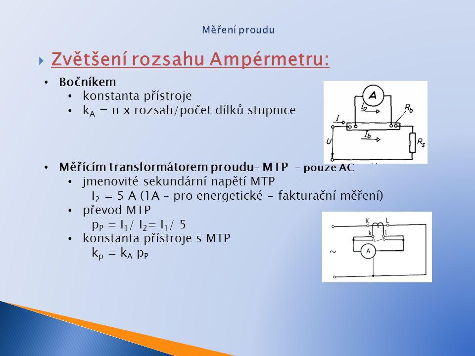 Zvětšení rozsahu Ampérmetru:
