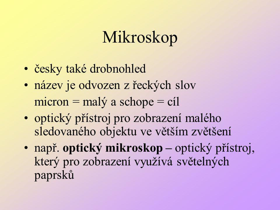 Mikroskop česky také drobnohled název je odvozen z řeckých slov