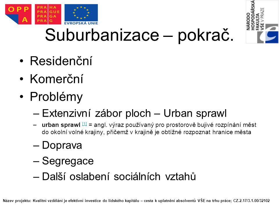 Suburbanizace – pokrač.