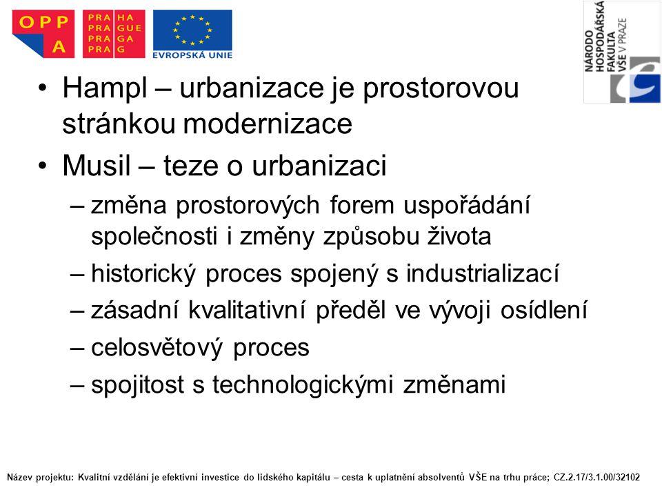 Hampl – urbanizace je prostorovou stránkou modernizace