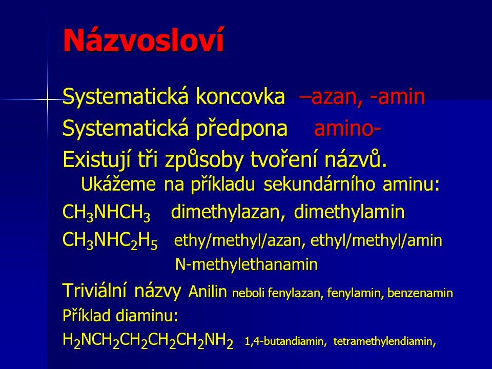 Názvosloví Systematická koncovka –azan, -amin