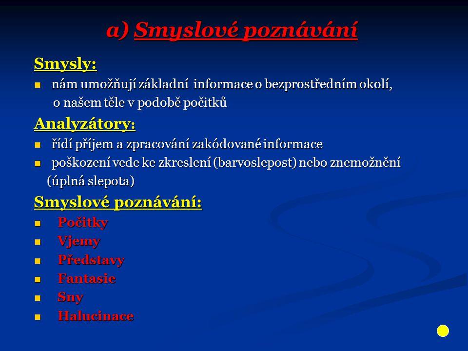 a) Smyslové poznávání Smysly: Analyzátory: Smyslové poznávání: