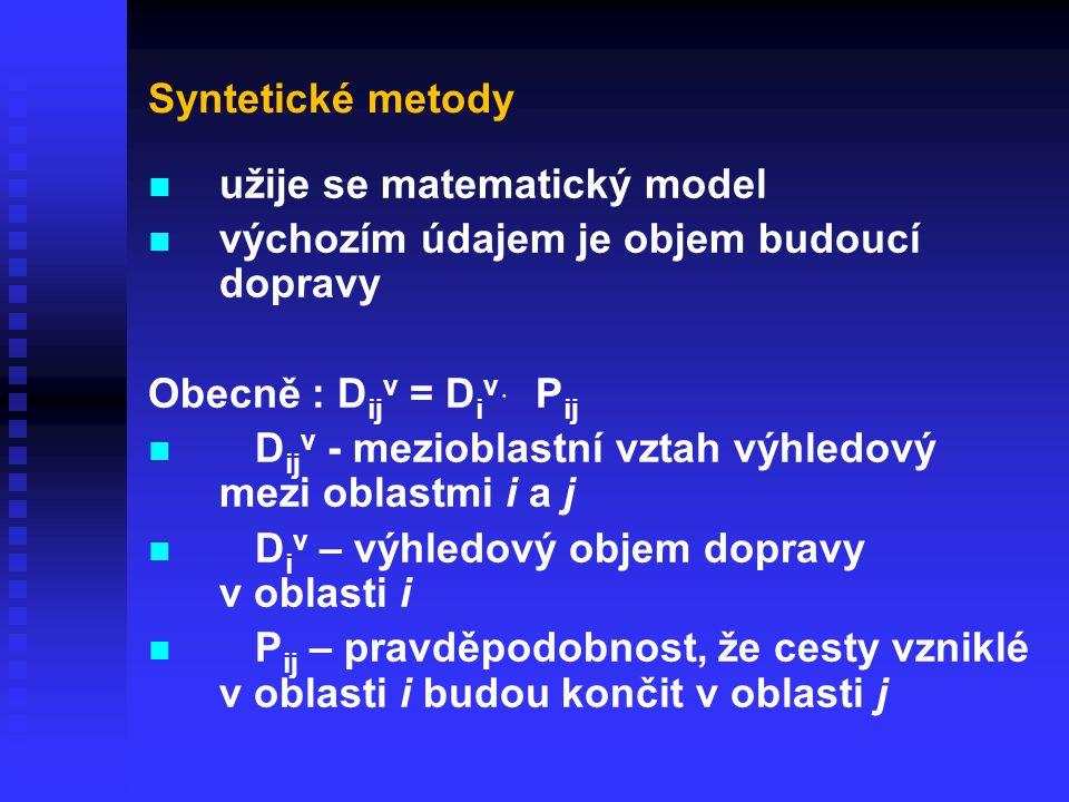 Syntetické metody užije se matematický model. výchozím údajem je objem budoucí dopravy. Obecně : Dijv = Div ּ Pij.
