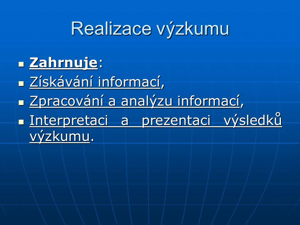 Realizace výzkumu Zahrnuje: Získávání informací,