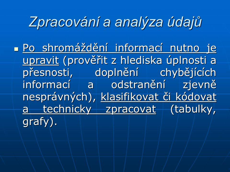 Zpracování a analýza údajů