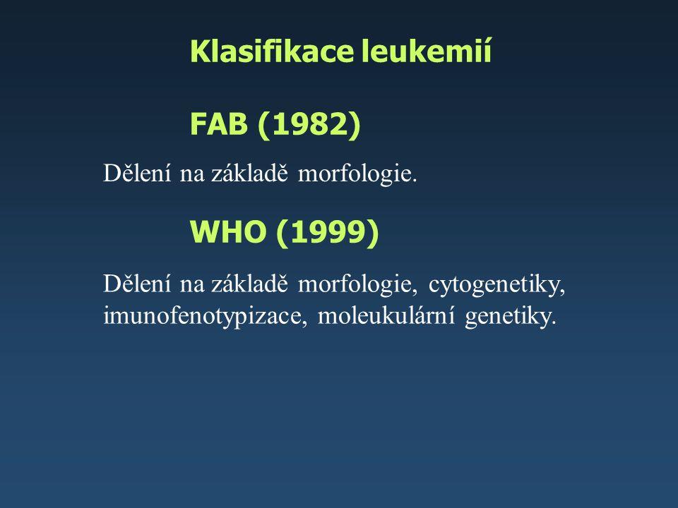Klasifikace leukemií FAB (1982) WHO (1999)