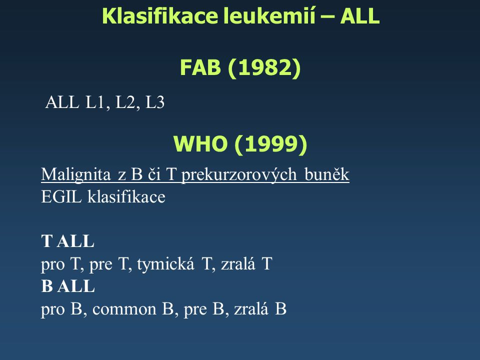 Klasifikace leukemií – ALL