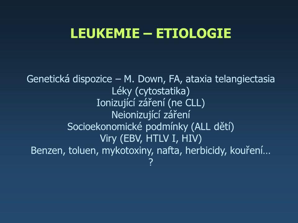 LEUKEMIE – ETIOLOGIE Genetická dispozice – M. Down, FA, ataxia telangiectasia. Léky (cytostatika) Ionizující záření (ne CLL)
