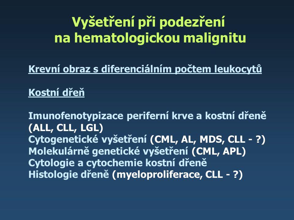 Vyšetření při podezření na hematologickou malignitu
