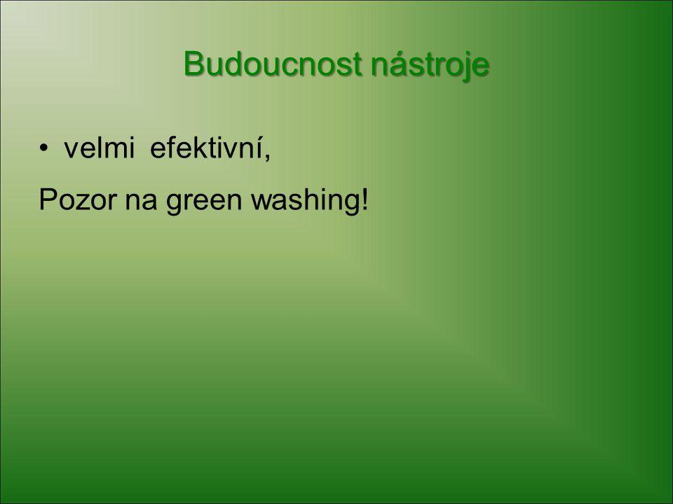 Budoucnost nástroje velmi efektivní, Pozor na green washing!