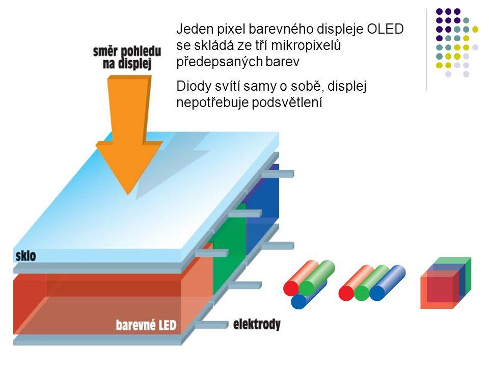 Jeden pixel barevného displeje OLED se skládá ze tří mikropixelů předepsaných barev