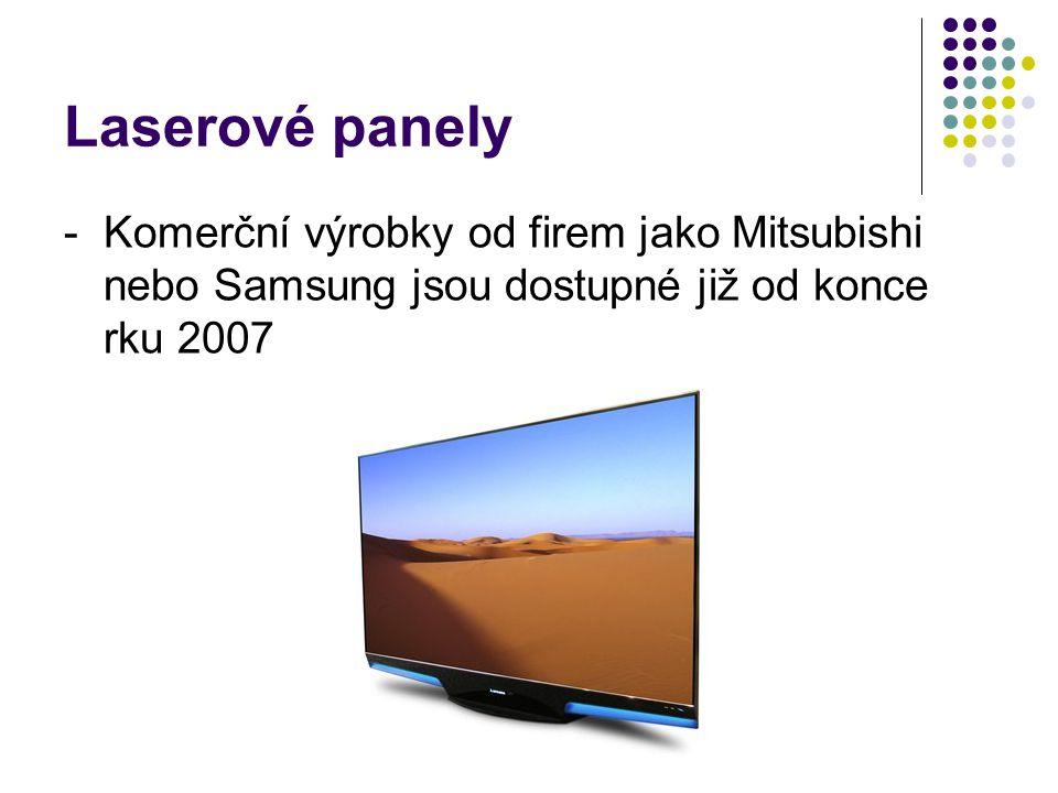 Laserové panely - Komerční výrobky od firem jako Mitsubishi nebo Samsung jsou dostupné již od konce rku 2007.
