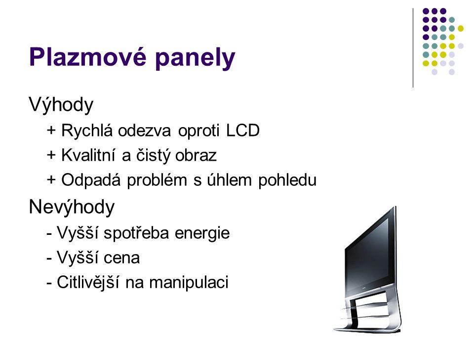 Plazmové panely Výhody Nevýhody + Rychlá odezva oproti LCD