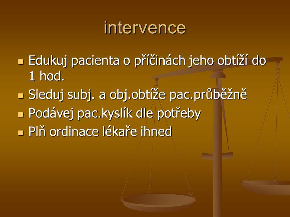 intervence Edukuj pacienta o příčinách jeho obtíží do 1 hod.