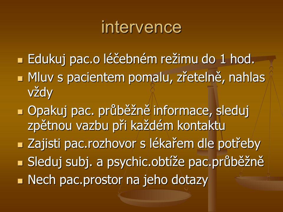 intervence Edukuj pac.o léčebném režimu do 1 hod.