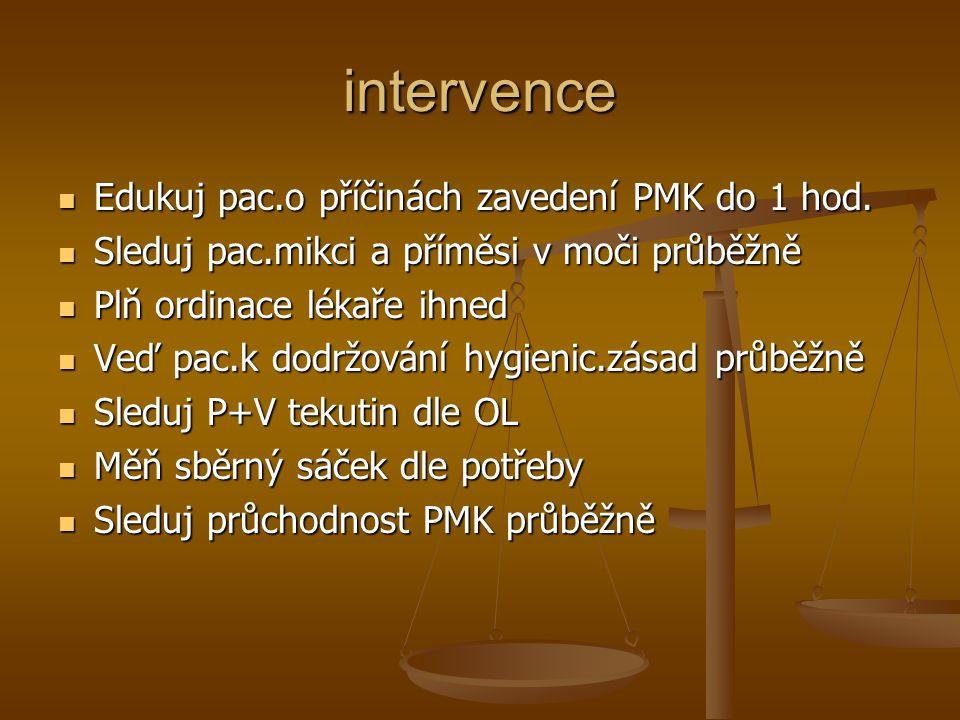 intervence Edukuj pac.o příčinách zavedení PMK do 1 hod.