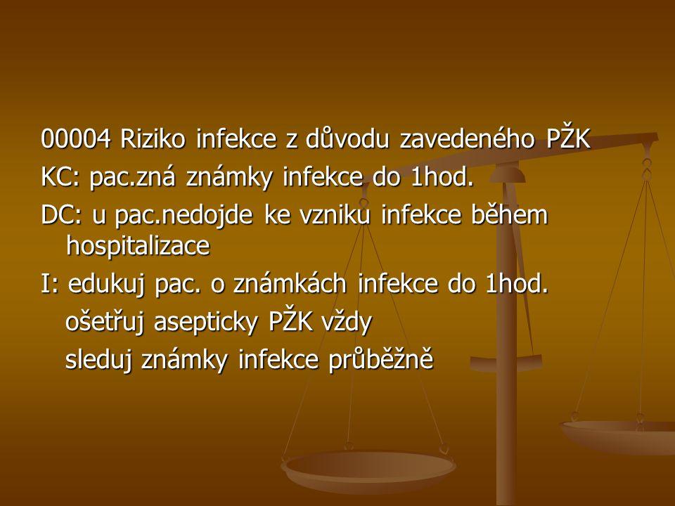 00004 Riziko infekce z důvodu zavedeného PŽK