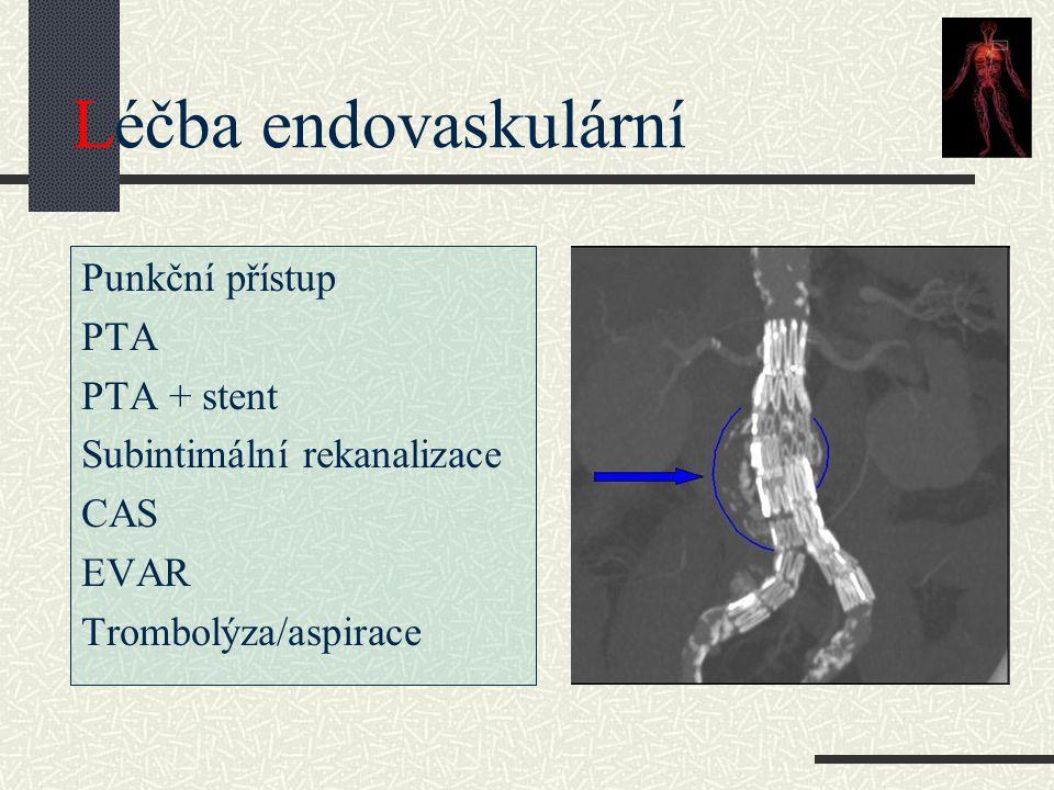 Léčba endovaskulární Punkční přístup PTA PTA + stent