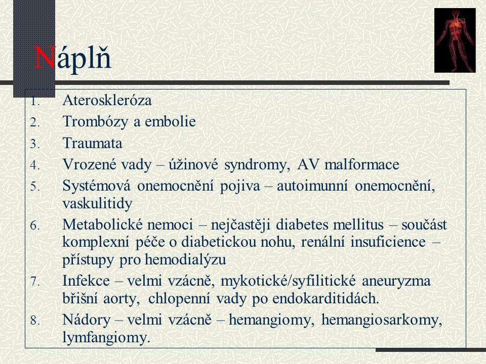 Náplň Ateroskleróza Trombózy a embolie Traumata