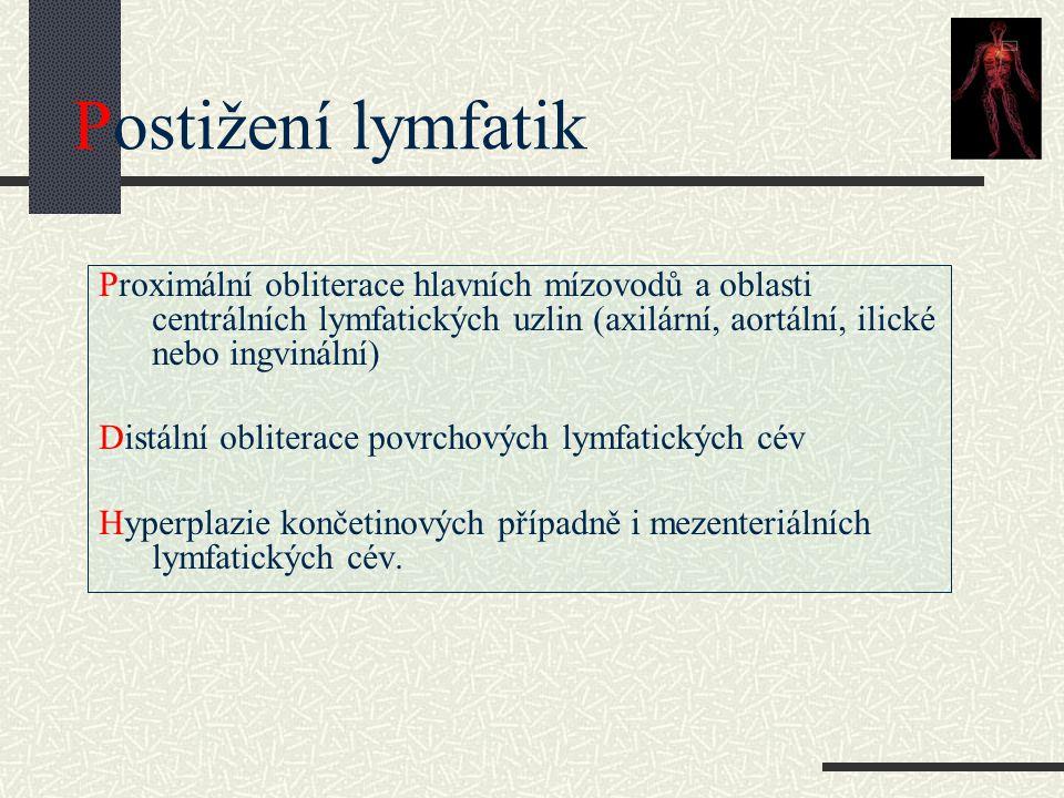 Postižení lymfatik Proximální obliterace hlavních mízovodů a oblasti centrálních lymfatických uzlin (axilární, aortální, ilické nebo ingvinální)