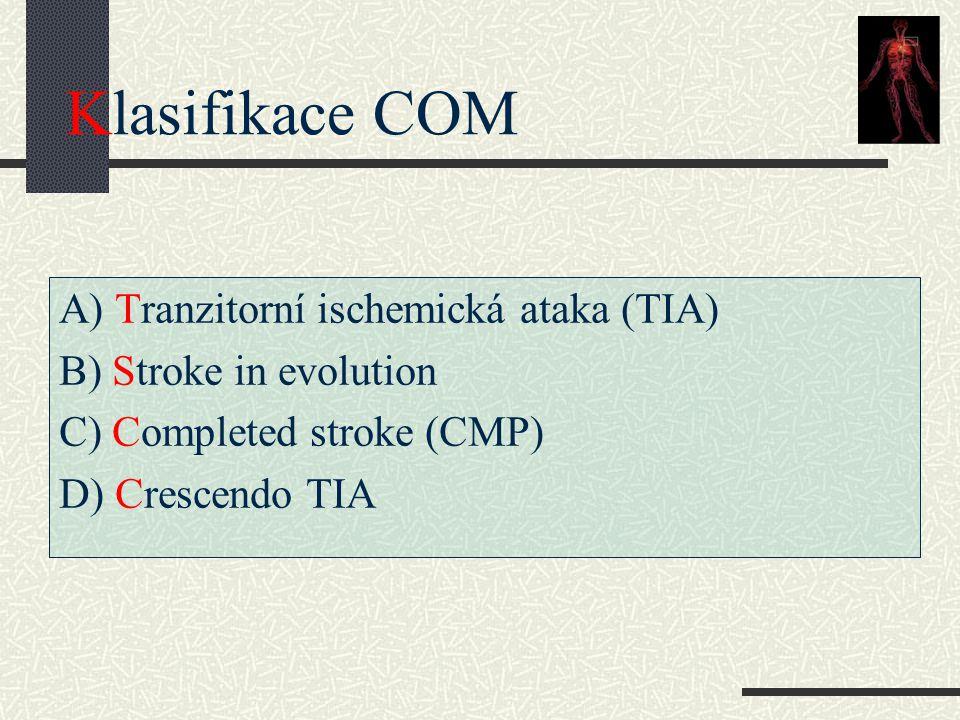 Klasifikace COM A) Tranzitorní ischemická ataka (TIA)