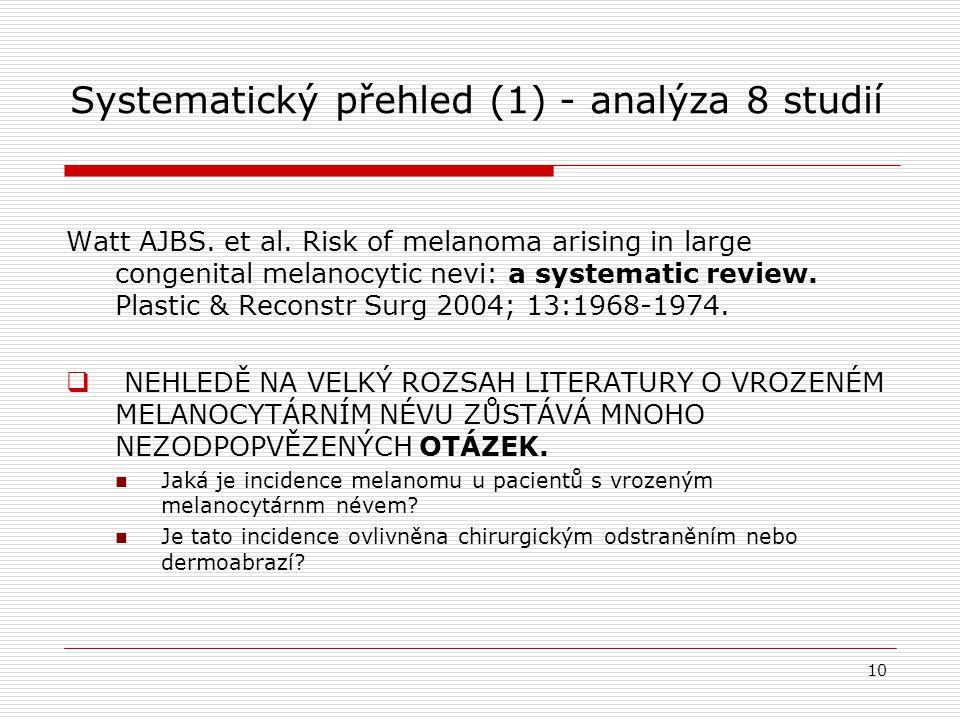 Systematický přehled (1) - analýza 8 studií