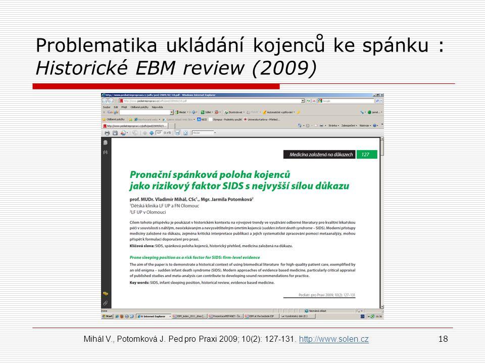 Problematika ukládání kojenců ke spánku : Historické EBM review (2009)
