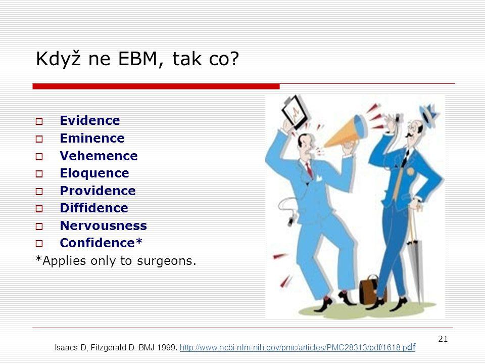 Když ne EBM, tak co Evidence Eminence Vehemence Eloquence Providence