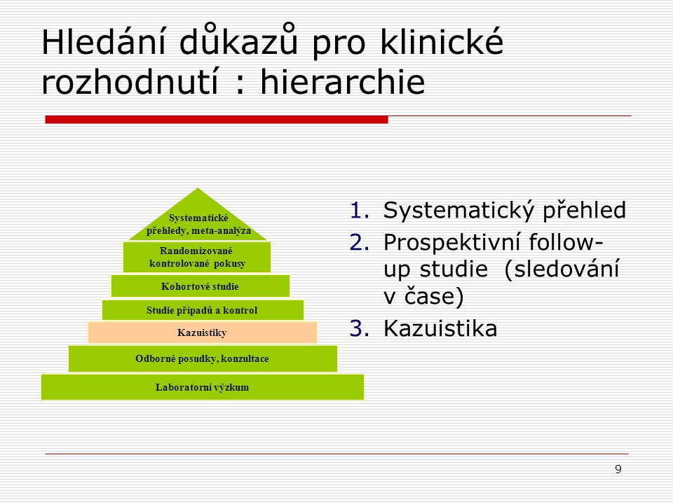 Hledání důkazů pro klinické rozhodnutí : hierarchie