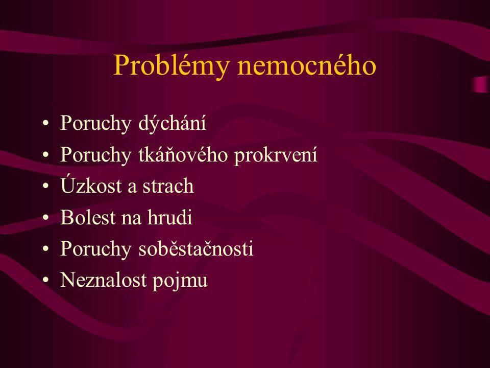 Problémy nemocného Poruchy dýchání Poruchy tkáňového prokrvení