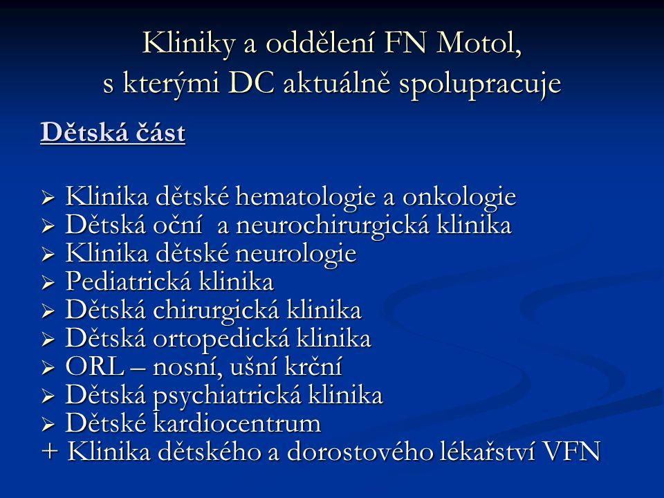Kliniky a oddělení FN Motol, s kterými DC aktuálně spolupracuje