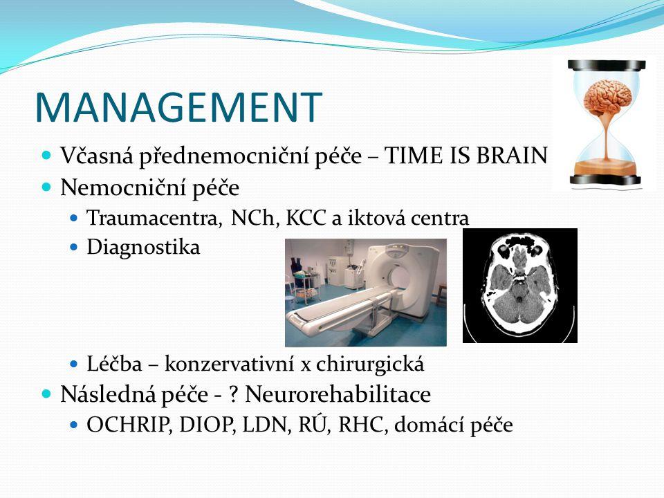 MANAGEMENT Včasná přednemocniční péče – TIME IS BRAIN Nemocniční péče