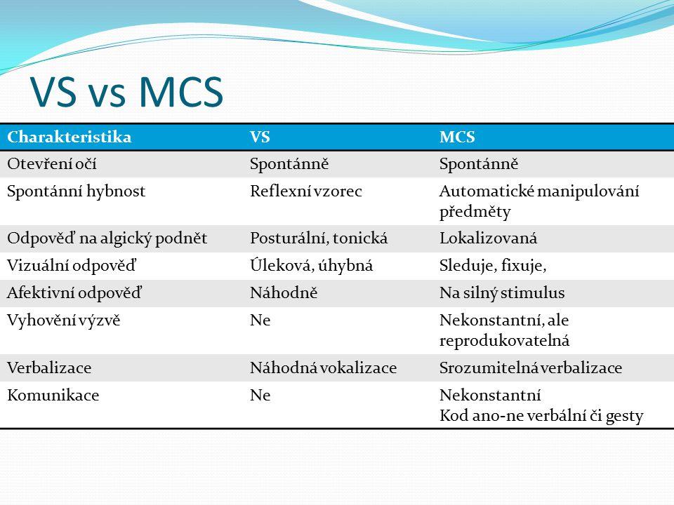 VS vs MCS Charakteristika VS MCS Otevření očí Spontánně