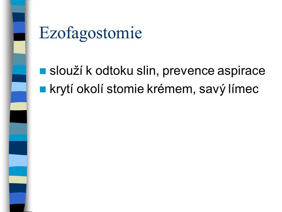 Ezofagostomie slouží k odtoku slin, prevence aspirace
