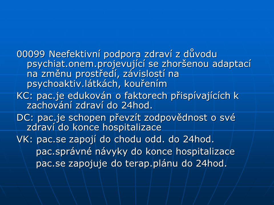 00099 Neefektivní podpora zdraví z důvodu psychiat. onem