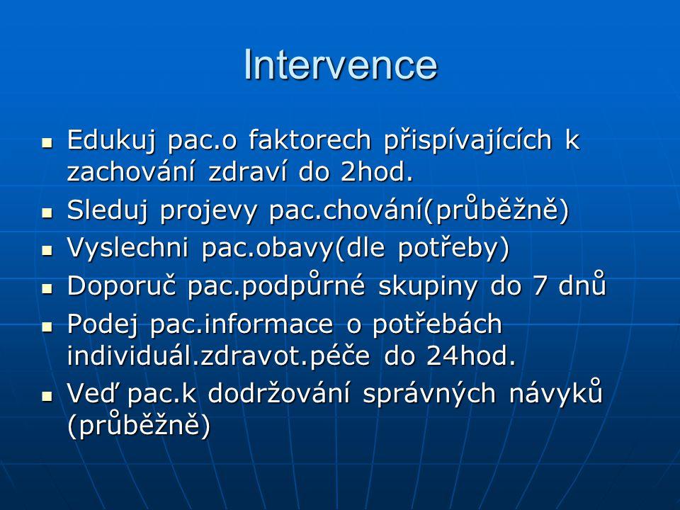 Intervence Edukuj pac.o faktorech přispívajících k zachování zdraví do 2hod. Sleduj projevy pac.chování(průběžně)