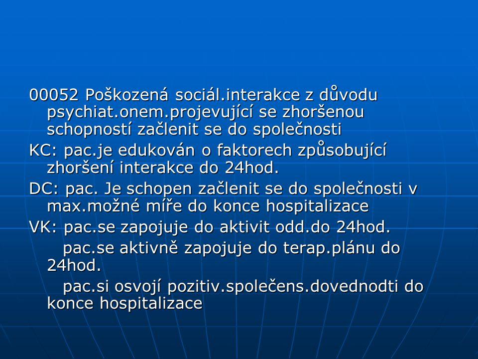 00052 Poškozená sociál. interakce z důvodu psychiat. onem