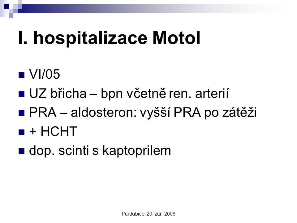 I. hospitalizace Motol VI/05 UZ břicha – bpn včetně ren. arterií