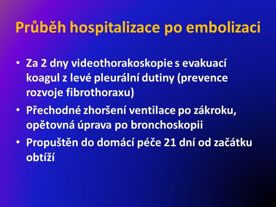 Průběh hospitalizace po embolizaci