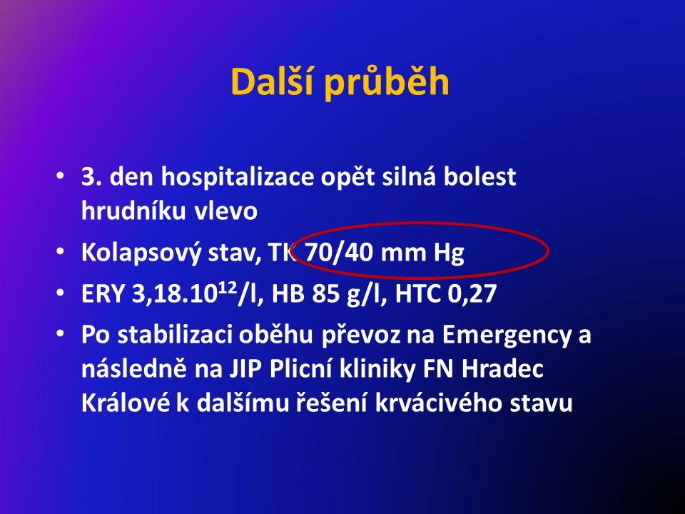 Další průběh 3. den hospitalizace opět silná bolest hrudníku vlevo