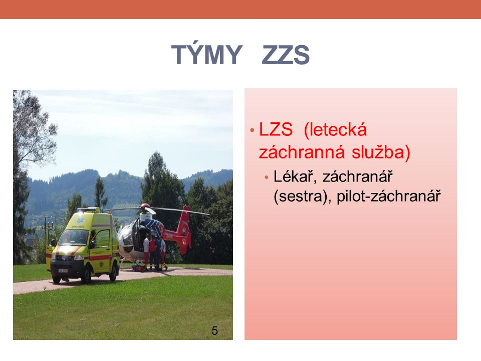 TÝMY ZZS LZS (letecká záchranná služba)