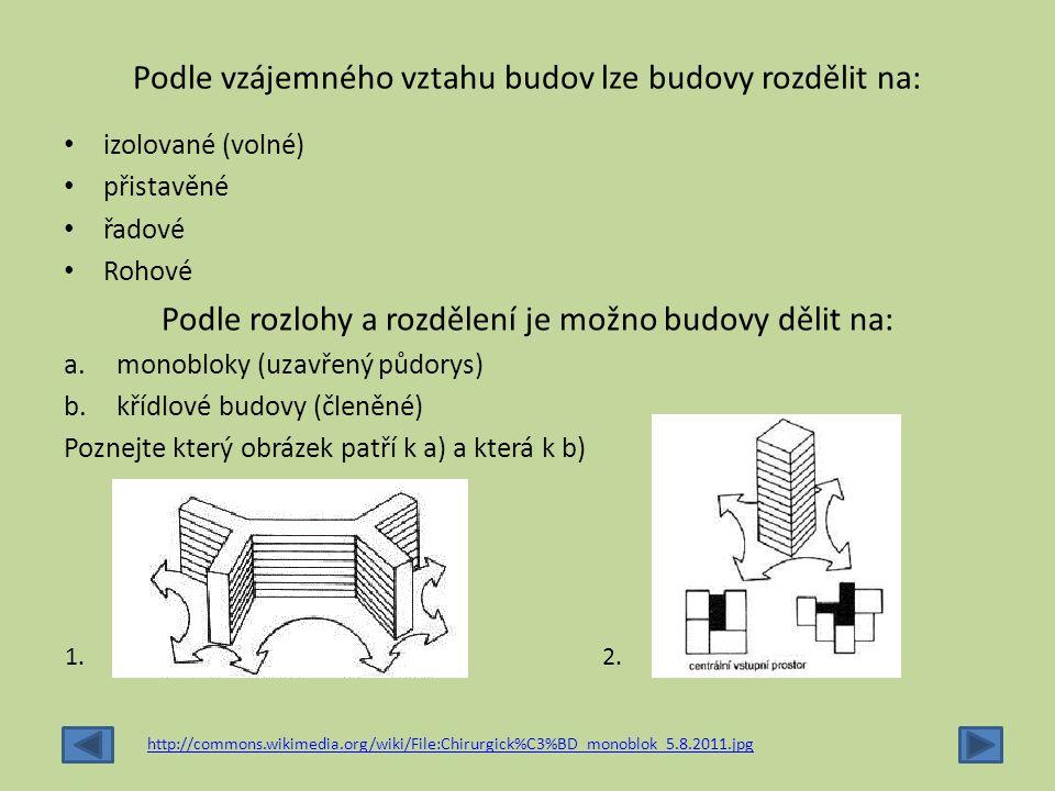 Podle vzájemného vztahu budov lze budovy rozdělit na: