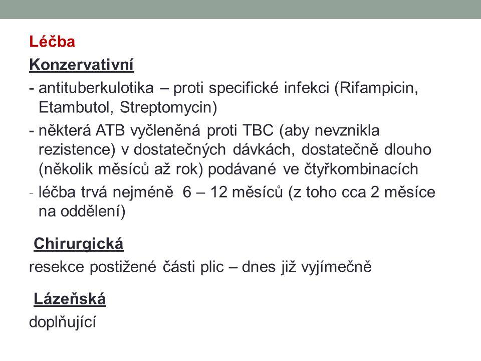 Léčba Konzervativní. - antituberkulotika – proti specifické infekci (Rifampicin, Etambutol, Streptomycin)
