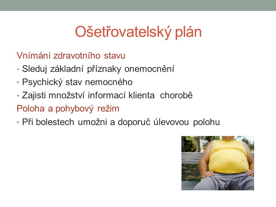 Ošetřovatelský plán Vnímání zdravotního stavu