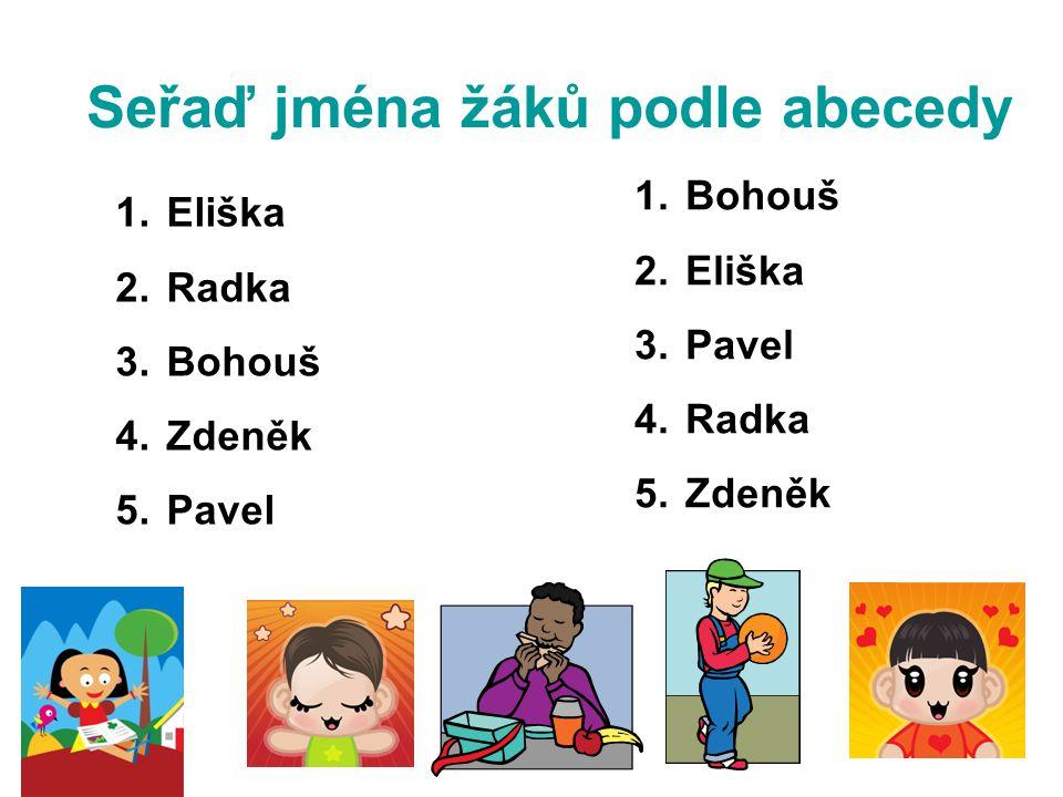 Seřaď jména žáků podle abecedy