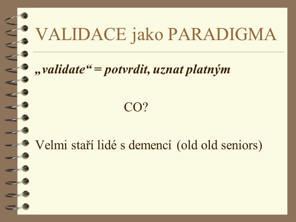 VALIDACE jako PARADIGMA