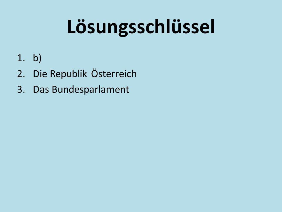 Lösungsschlüssel b) Die Republik Österreich Das Bundesparlament